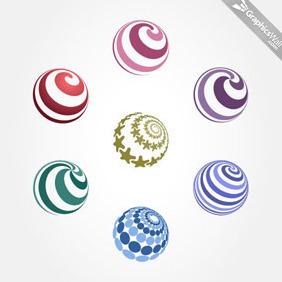 7 Spiral Vector Spheres - Free vector #209273