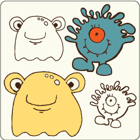 Vector Cute Monsters 3 - Free vector #209323