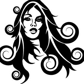 Girl With Black Hair Smoking Vector - Free vector #209983