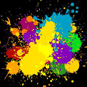 Colourful Messy Splats - Free vector #210603