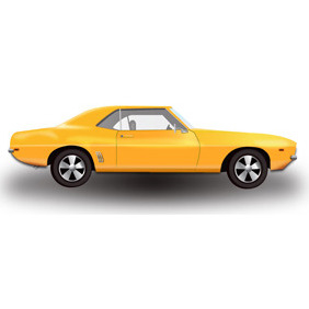 Yellow Hot Rod Car - vector gratuit #210723