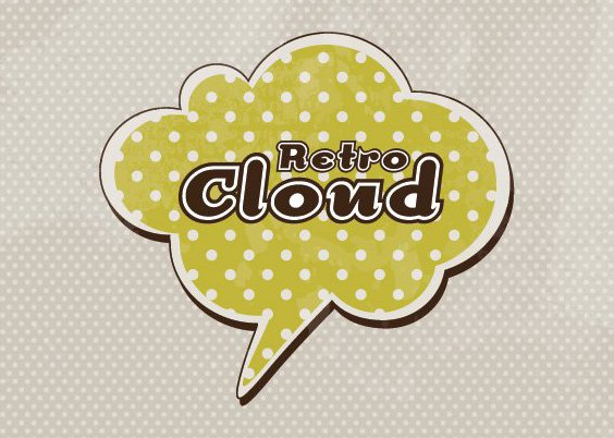 Retro Cloud Background - Free vector #210803
