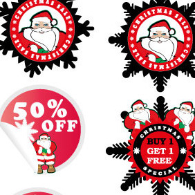 Christmas Sale Stickers Vector - vector gratuit #210823