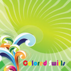Art Colored Swirls In Green Vector - Free vector #211333