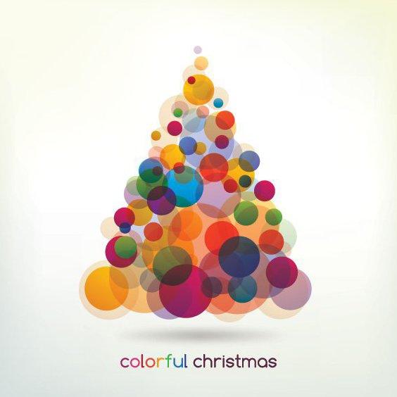 Arbre de Noël coloré - vector gratuit #211883