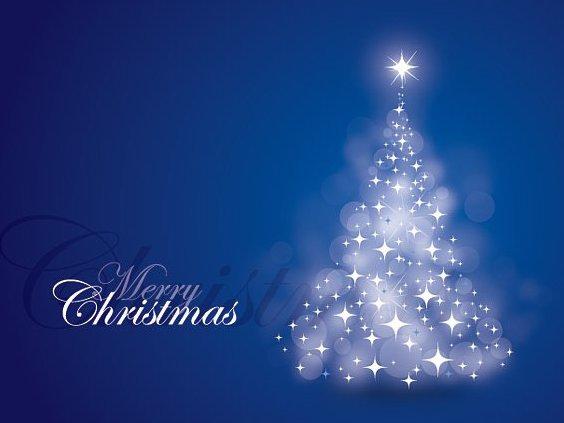 Blue Christmas Card - Free vector #211943
