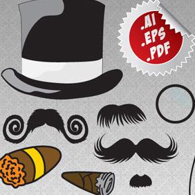 Handlebars & Cigars Mustache Pack - Free vector #211953