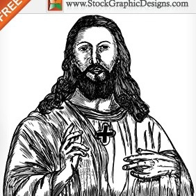 Jesus Christ Hand Drawn Free Vector - Kostenloses vector #212013