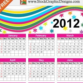 Colorful Free Vector Calendar For Year 2012 - Kostenloses vector #212173