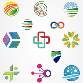 Mixed Logo Design Elements - Free vector #212183