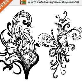 Hand Drawn Floral Elements Free Vector Illustration - Free vector #212243