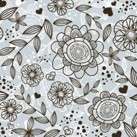 Grey Floral Pattern Background - vector gratuit #213403