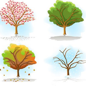 Tree In Different Seasons - Free vector #213943