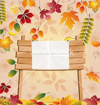 Free school wooden board with autumn leaves vector - vector gratuit #214373