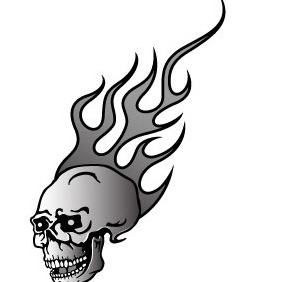 Skull In Flame - Free vector #214473