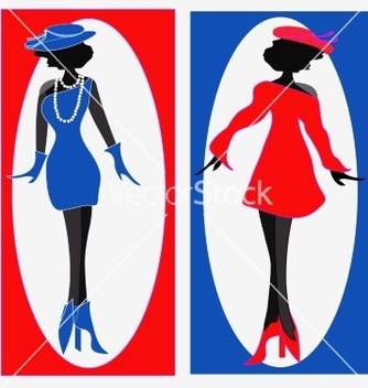 Free two ladies in blue and red dresses vector - vector gratuit #214733