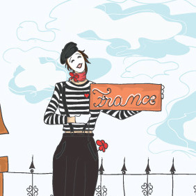 Funny Doodles With Mime Vector Background - Free vector #214943