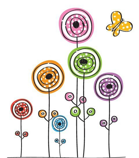 Flowers and Butterfly - Free vector #215323