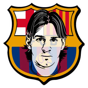Barcelona Logo With Messi Portrait - vector gratuit #215343