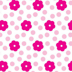 Simple Pink Flower Seamless Pattern - vector gratuit #215423