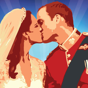 William Kate Kiss Vector - Free vector #216143