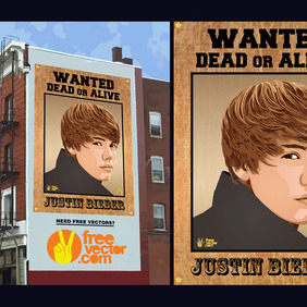 Justin Bieber Wanted Poster - Free vector #216283