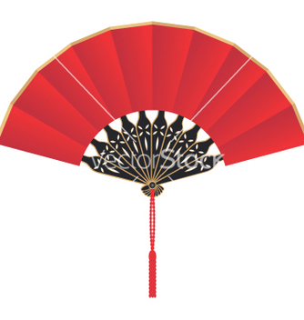 Free red silk chinese fan vector - Free vector #216393