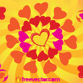 Sunny Heart Vector Graphics - vector gratuit #217333