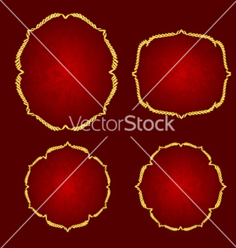 Free golden frame vintage on a red background vector - Kostenloses vector #217543