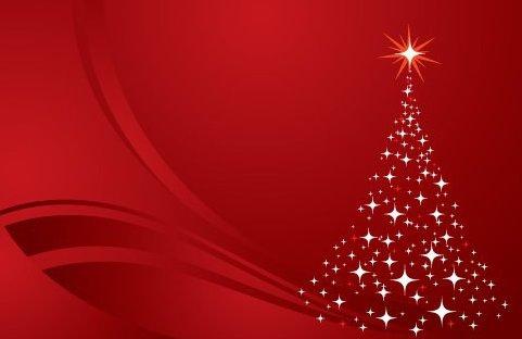 Árbol de Navidad de fondo rojo - vector #217593 gratis