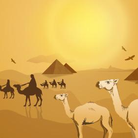 Egyptian Desert Landscape - Free vector #218143