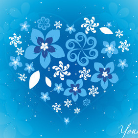 Blue Floral Heart - Kostenloses vector #218163