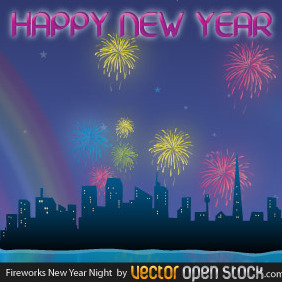 Fireworks New Year Night - vector gratuit #219053