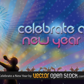 Celebrate A New Year - vector gratuit #219123