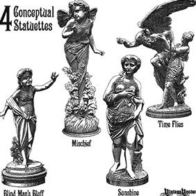 4 Statuette Vectors Portraying 4 Concepts - Free vector #219633