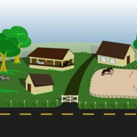 Farm With Horses - Free vector #220363