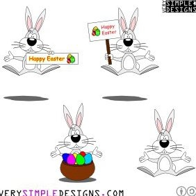 Cartoon Style Easter Bunny - Free vector #221373