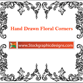 Hand Drawn Floral Corners - vector gratuit #221413