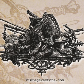 Medieval Armor & Weapons Graphic - Free vector #222033