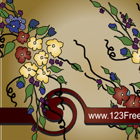 Flower Text Frame - Free vector #222163
