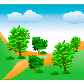Mountain Trees - vector gratuit #222723