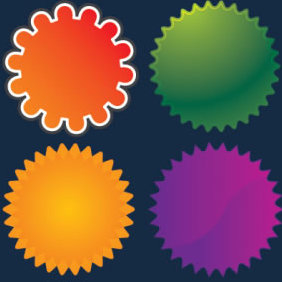 7 Web 2 0 Badge Vectors - Free vector #223873