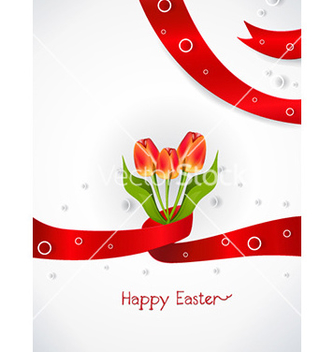 Free ribbon with tulips vector - Free vector #225703