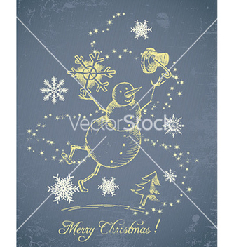 Free christmas with snow man vector - vector gratuit #227143