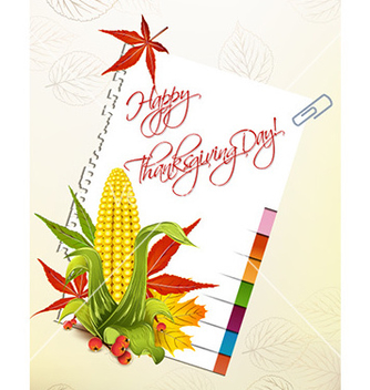 Free happy thanksgiving day with corn and sticker vector - vector #228273 gratis