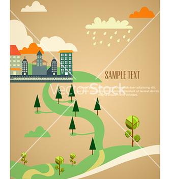 Free city stylized with buildings vector - Kostenloses vector #229263
