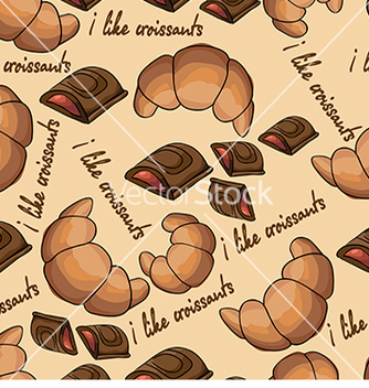 Free pattern with croissants and chocolate vector - vector gratuit #233013