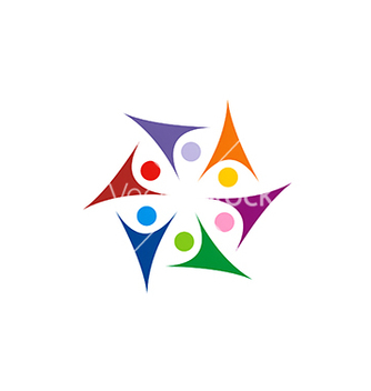 Free circle star people group colorful connect joy logo vector - Free vector #233073