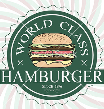 Free world class hamburger label stamp banner design vector - vector #233323 gratis