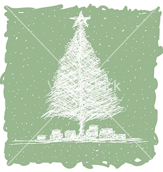 Free hand drawn of christmas tree with snow flakes in vector - vector gratuit #233433